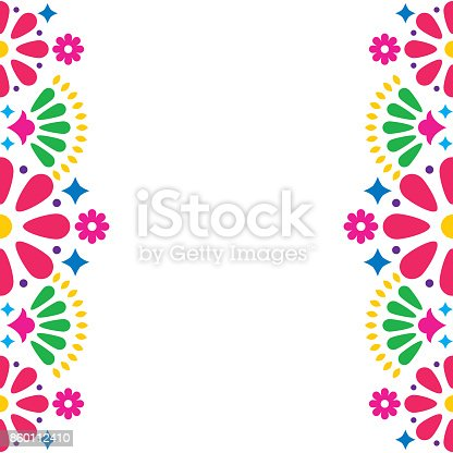 istock Mexican folk vector wedding or party invitation, greeting card, colorful frame design with flowers and abstract shapes 860112410