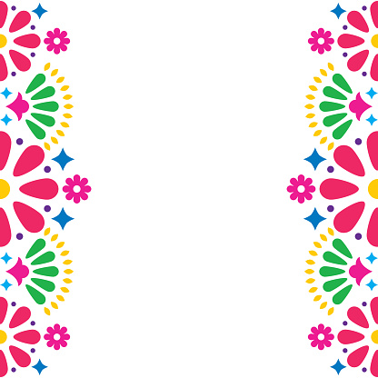 Folk art pattern decor inspired by traditional art form Mexico on white background