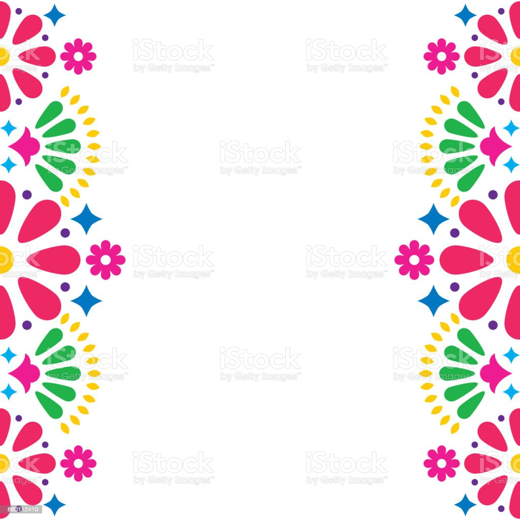 Mexican folk vector wedding or party invitation, greeting card, colorful frame design with flowers and abstract shapes vector art illustration