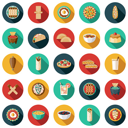 Mexican Food and Drink Icon Set