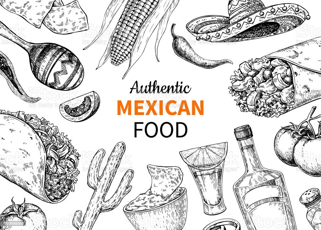 Mexican food and drink sketch.  Vector Tequila shot and  burito, taco, nachos drawing. vector art illustration
