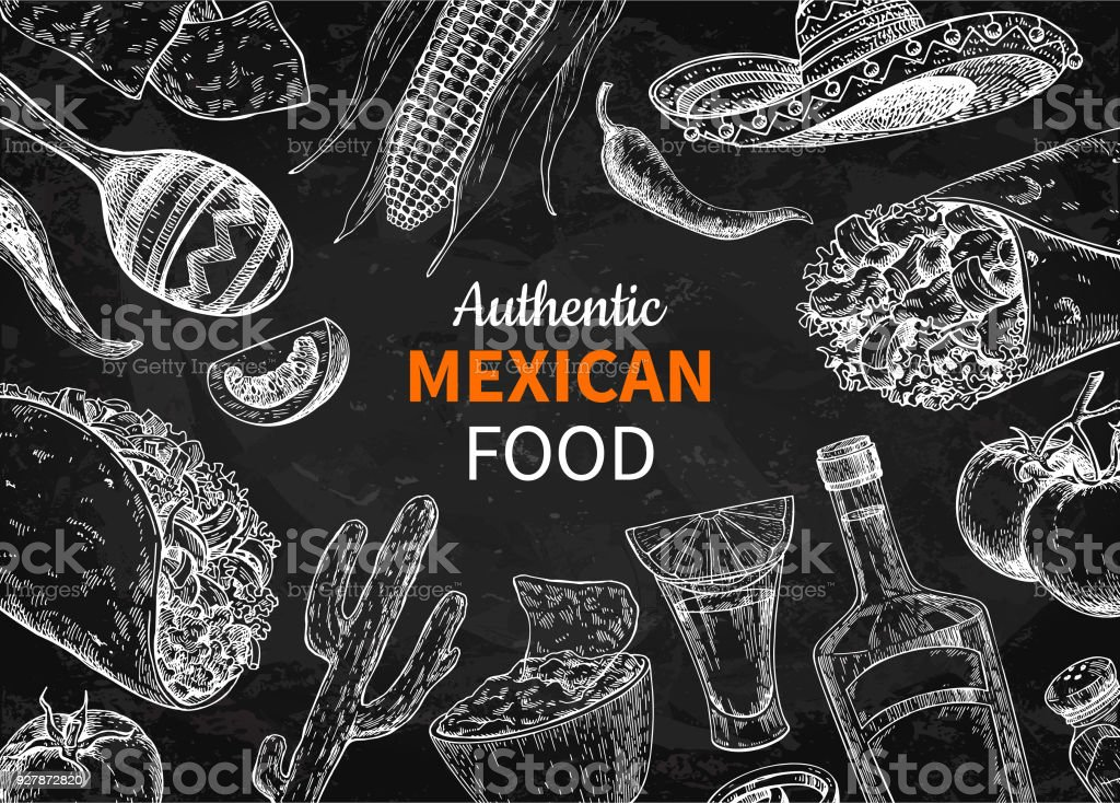 Mexican food and drink sketch. Vector Tequila shot and  burito, taco, nachos drawing. Blackboard vector art illustration
