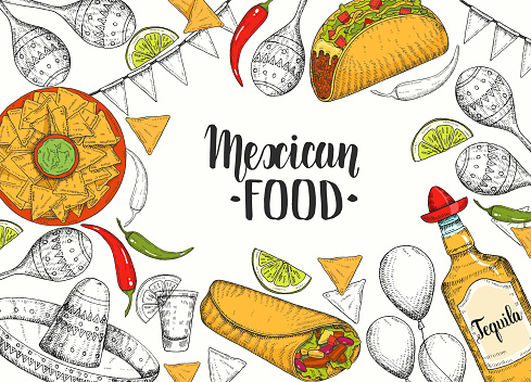Mexican food background with hand drawn symbols - flag garland, chili pepper, maracas, sombrero, jalapenos, nachos, tacos, burritos, tequila, balloons. Hand made lettering. Sketch. Cinco de Mayo