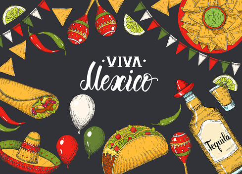 Mexican food background with  hand drawn symbols - flag garland, chili pepper, maracas, sombrero, nachos, tacos, burritos, tequila, balloons on black. Hand made lettering. Sketch. Cinco de Mayo