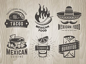 Mexican food badges. Vector logos with traditional mexican cuisine. Emblems for tacos, burritos, nachos, tequila. Set of labels for cafe, taqueria or fast food restaurant on vintage wooden background