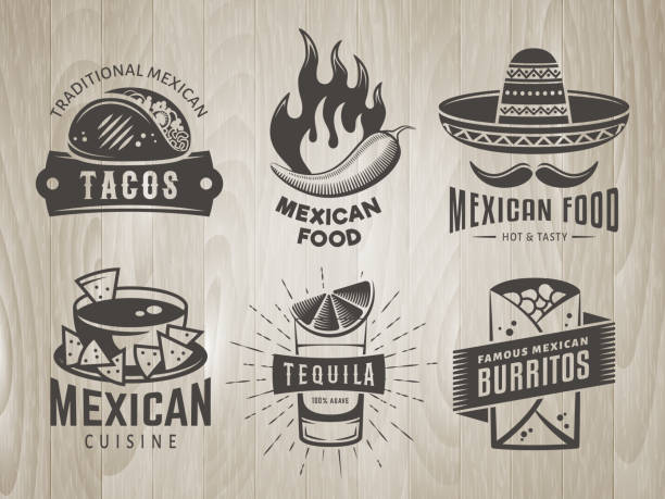 mexican food badges on vintage wooden background - mexican food stock illustrations, clip art, cartoons, & icons