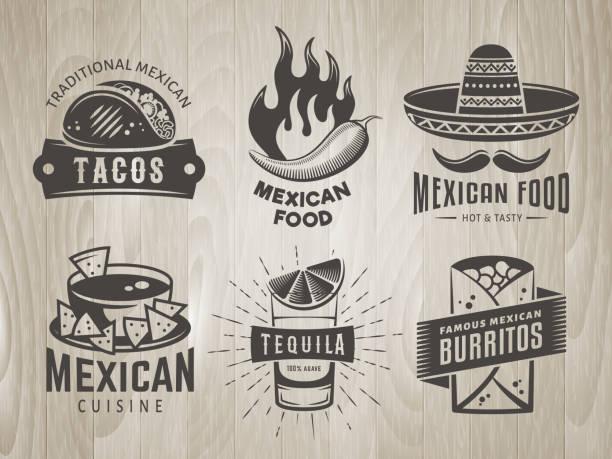 Insignes de la cuisine mexicaine sur fond en bois vintage - Illustration vectorielle