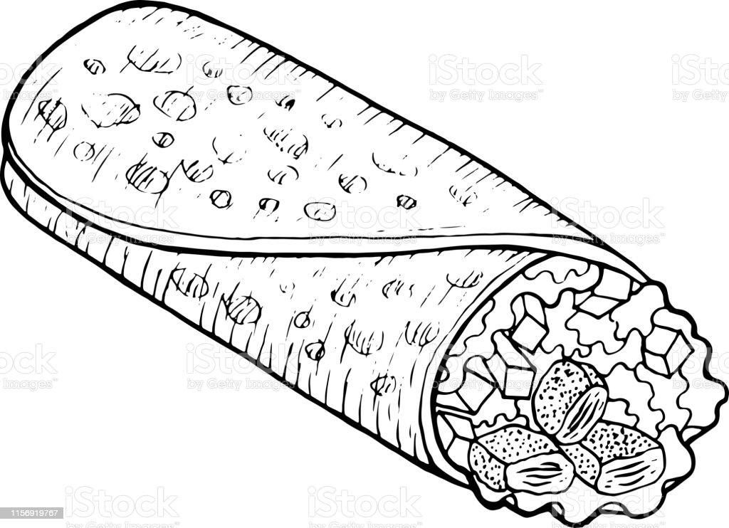 Meksikali Yemek Burritoyetiskinler Icin Boyama Sayfasi Murekkep