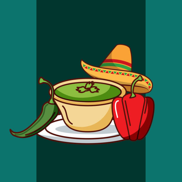 mexican food card chili and bell pepper and hat mexican food vector illustration mexican restaurant stock illustrations