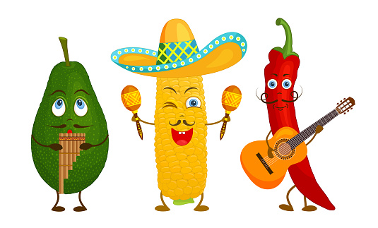Mexican food characters. Vector.