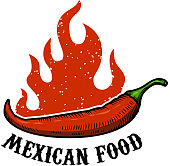 Mexican food. Chili pepper with fire isolated on white background. Vector illustration