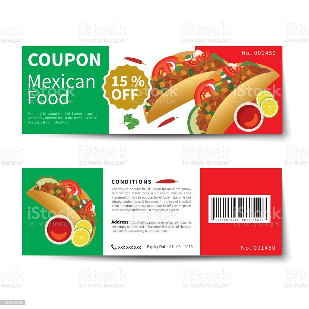 Mexican Food Coupon Discount Template Flat Design Royalty Free Stock Vector  Art
