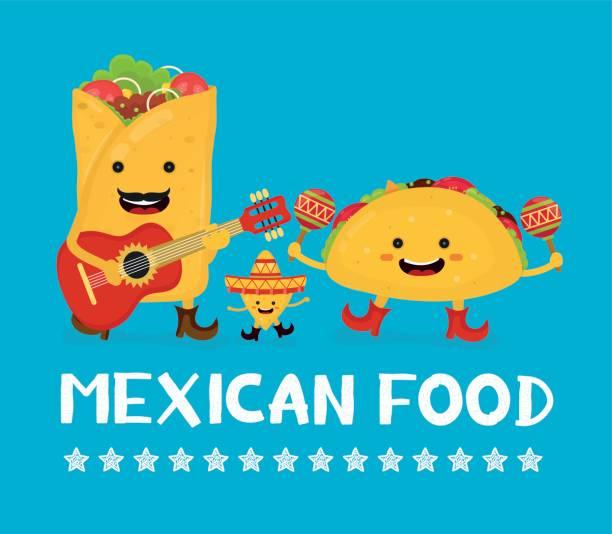 mexican food creative card concept. - taco stock illustrations, clip art, cartoons, & icons