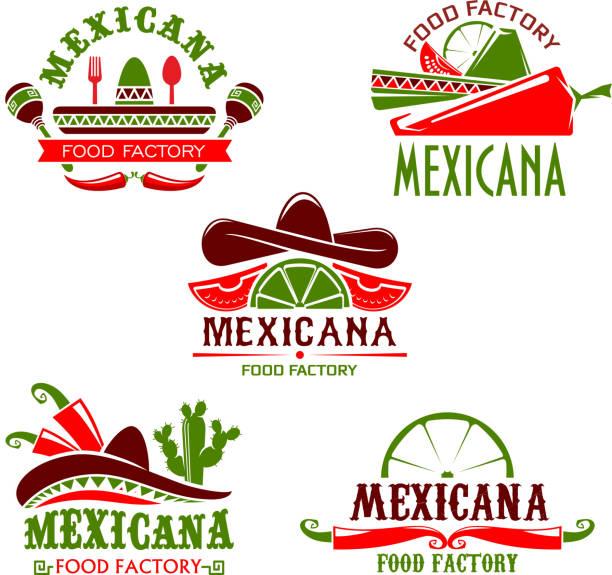 bildbanksillustrationer, clip art samt tecknat material och ikoner med mexikansk mat mat restaurang vektor ikoner set - cactus lime