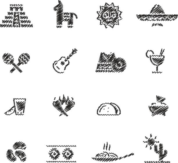 Mexican Food & Culture // Scribble series Vector icons for your digital or print projects. serape stock illustrations