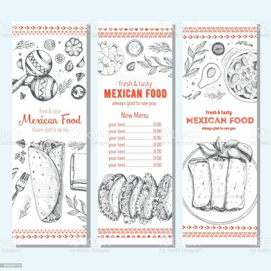 Mexican food design template. Vertical banners set. Mexican food cafe menu. Vector illustration. vector art illustration