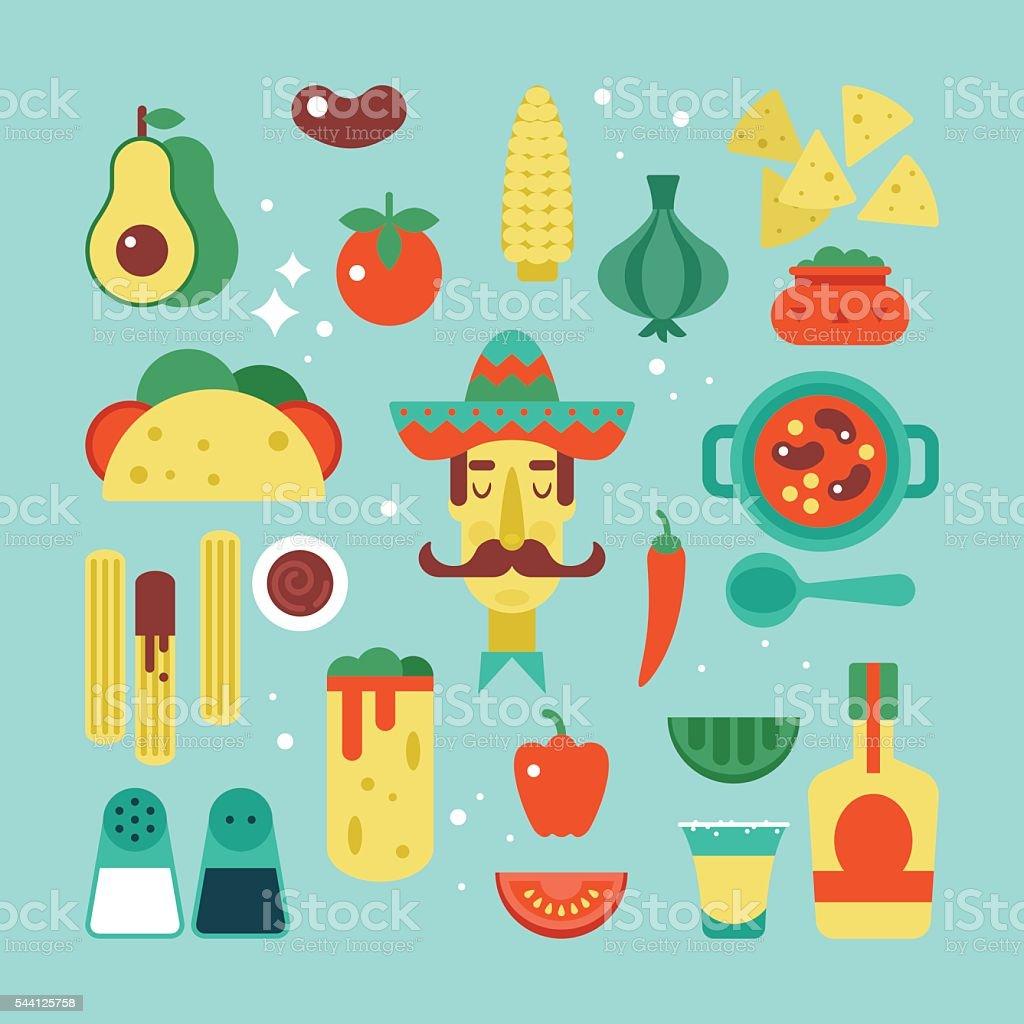 Elegante comida mexicana conjunto de iconos plana. Ilustración vectorial - ilustración de arte vectorial