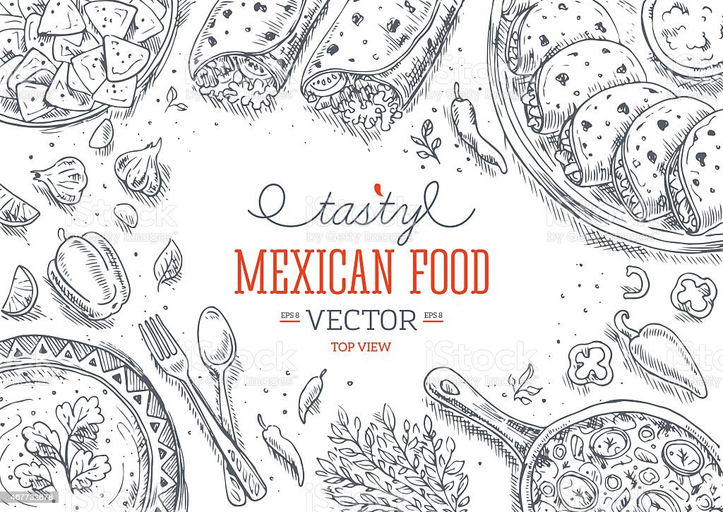 Comida mexicana bastidor.   Lineal gráfico.   Ilustración vectorial - ilustración de arte vectorial