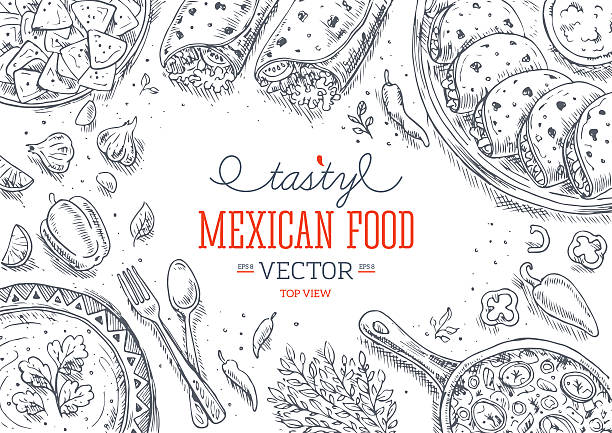 mexican food frame. linear graphic. vector illustration - mexican food stock illustrations, clip art, cartoons, & icons