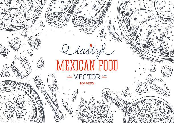 De la cuisine mexicaine.   Graphisme linéaire.   illustration vectorielle - Illustration vectorielle