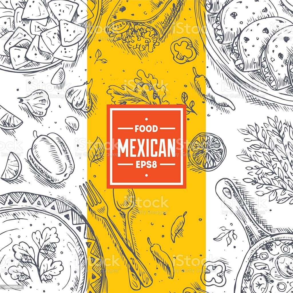 Mexikanische Küche Rahmen Lineare Grafik Vektorillustration Vektor ...