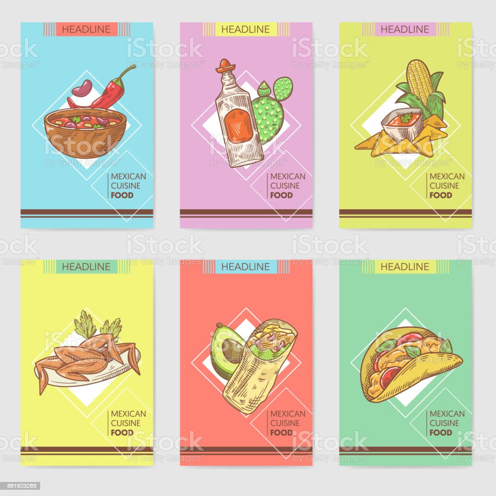 mexican food hand drawn brochure template set mexico traditional cuisine cards royalty free mexican - Mexico Brochure Template