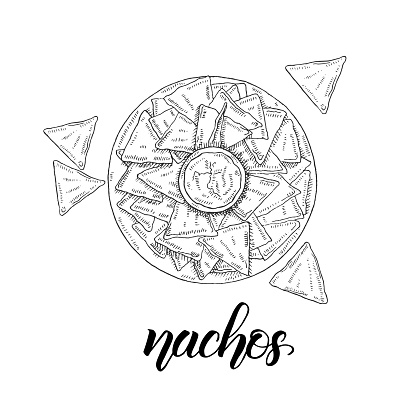 Mexican Food. Hand drawn nachos in sketch style isolated on white. Hand made lettering. illustration for menu designs.