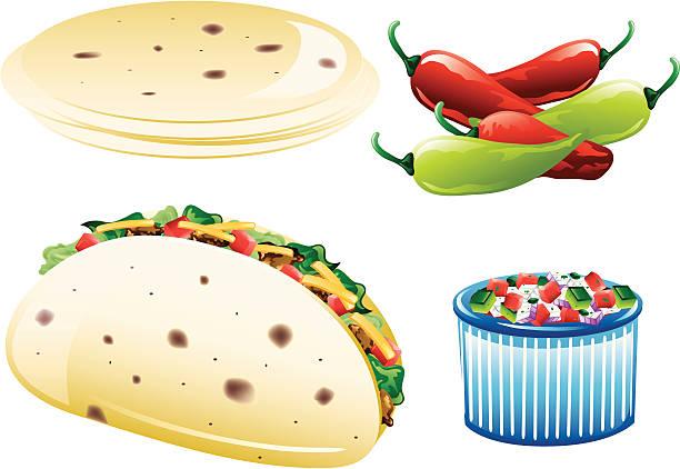 mexikanische essen icons - tortillas stock-grafiken, -clipart, -cartoons und -symbole