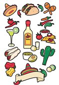 A selection of mexican food and drink icons. Ideal for use on restaurant menus. See my portfolio for other food and drink icons.
