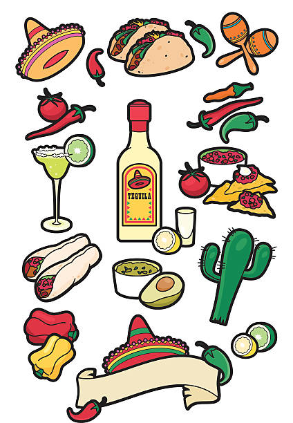 Mexican food icons A selection of mexican food and drink icons. Ideal for use on restaurant menus. See my portfolio for other food and drink icons. cooking competition stock illustrations