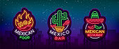 Mexican food is a collection of neon signs. Bright glow sign, neon banner, luminous logo, symbol, nightly advertisement of Mexican food. Design template for restaurant, bar, cafe. Vector illustration.