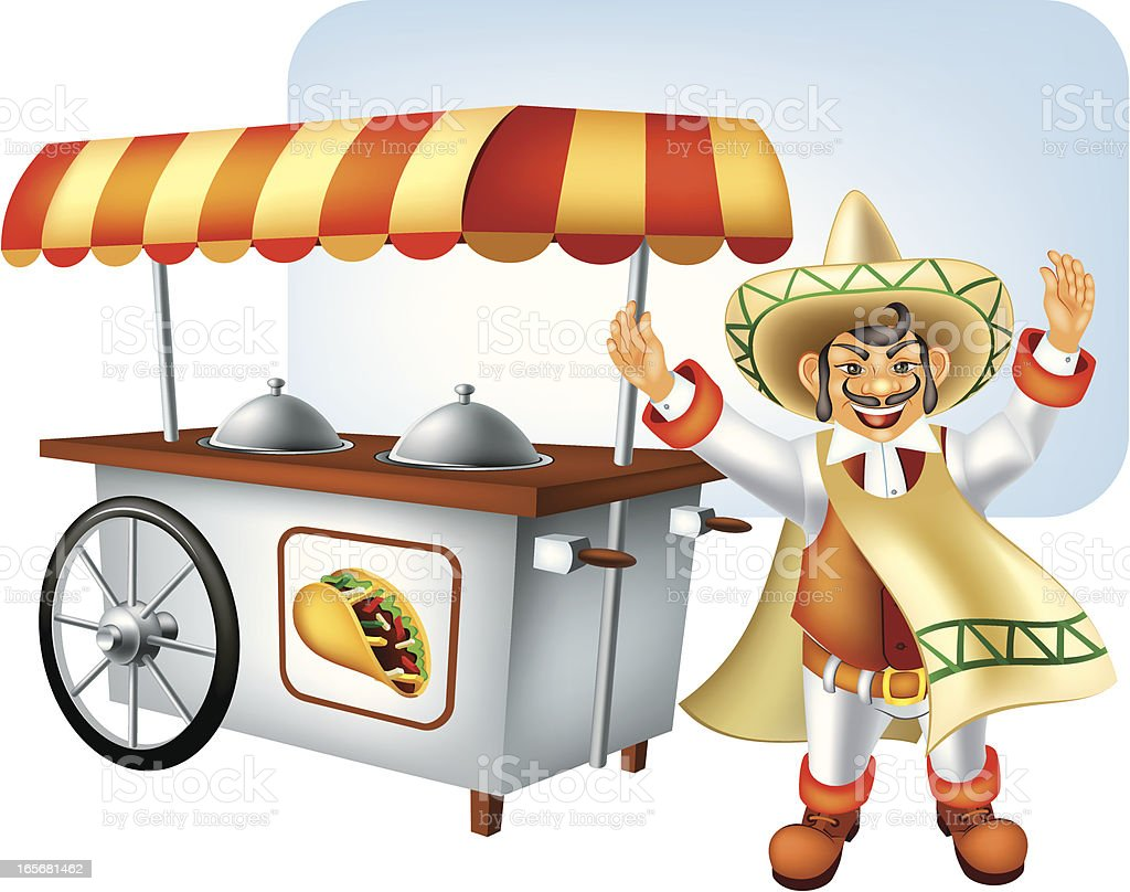 Mexican food kiosk vector art illustration