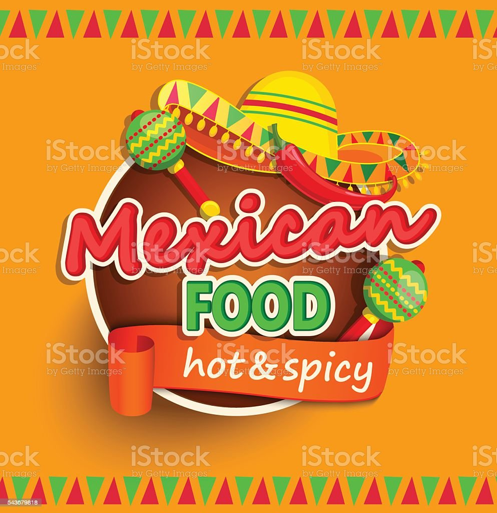 Mexican food label. vector art illustration