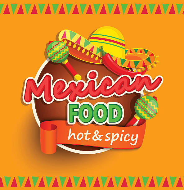 mexican food label. - mexican food stock illustrations, clip art, cartoons, & icons