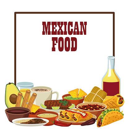 mexican food lettering poster with tequila and menu