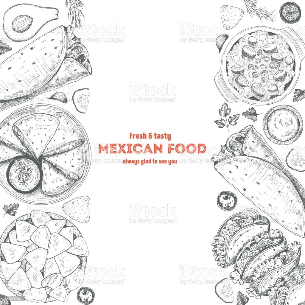 Plantilla de diseño de menú de comida mexicana. Ilustración de vector de comida mexicana con sopa de burrito, tacos, nachos, quesadilla y frijoles. - ilustración de arte vectorial