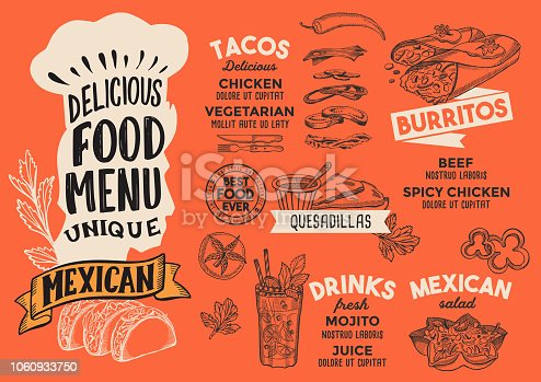 mexican food menu template for restaurant with chefs hat lettering