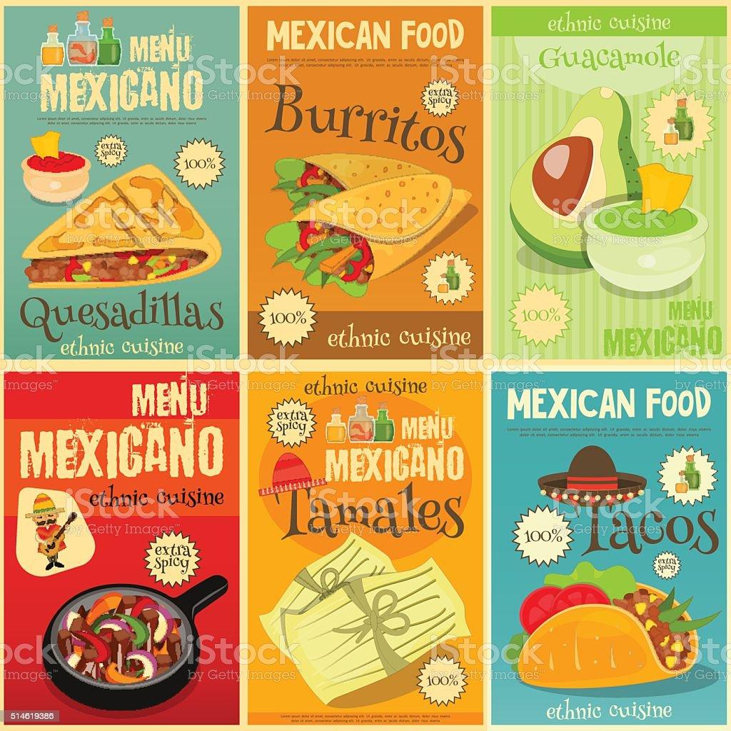 Un conjunto de carteles de comida mexicana - ilustración de arte vectorial