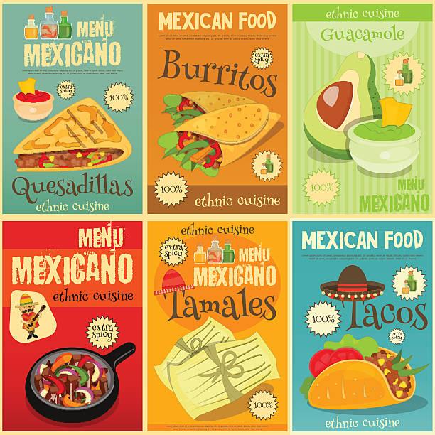 Cuisine mexicaine Mini ensemble des affiches - Illustration vectorielle