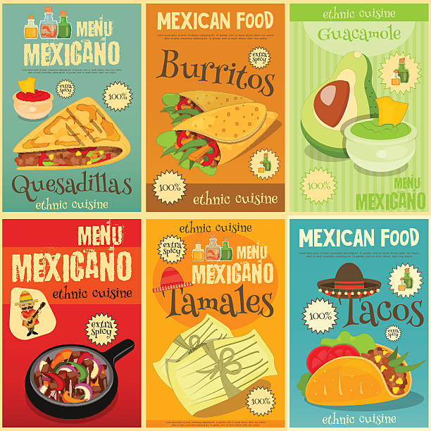 mexican food mini posters set - mexican food stock illustrations, clip art, cartoons, & icons