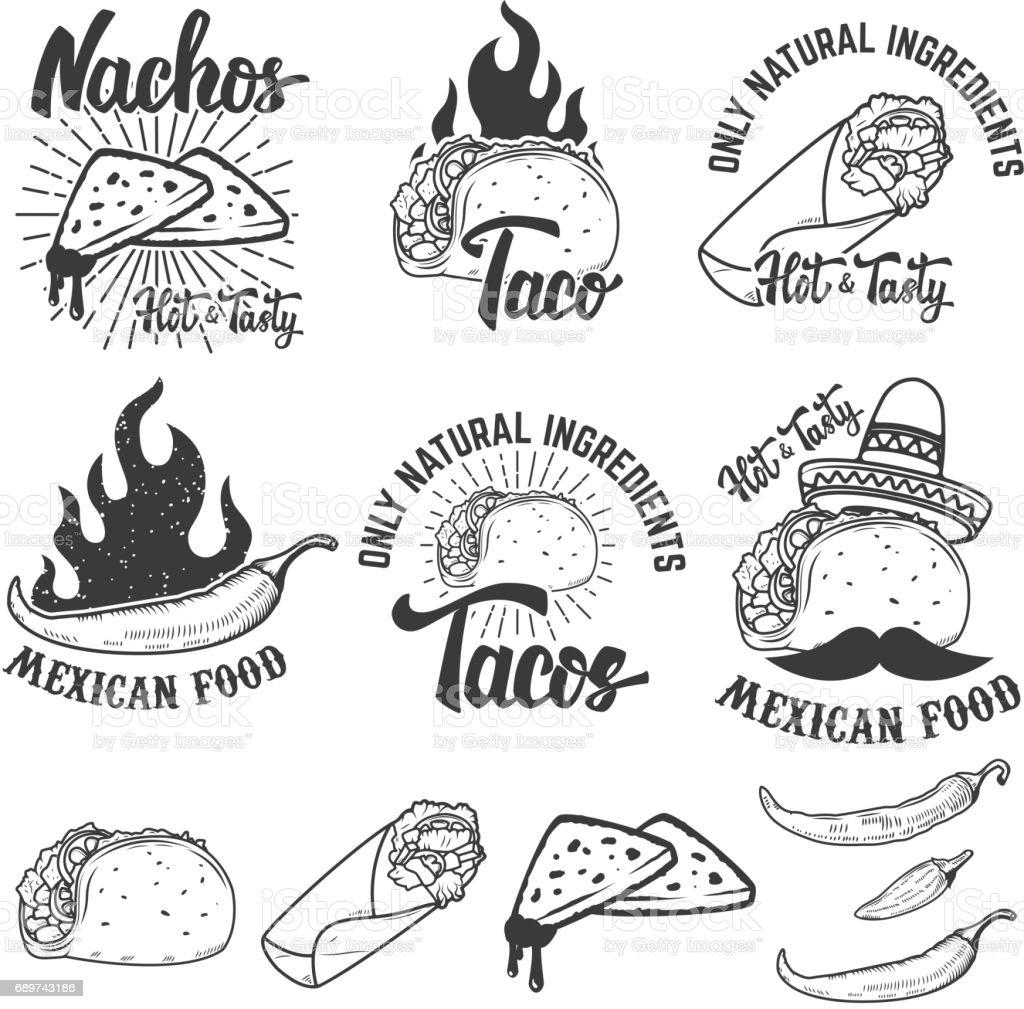 Comida mexicana. Nachos, burrito, taco ilustraciones. Elementos de diseño para el emblema, sello, signo. Ilustración de vector. - ilustración de arte vectorial