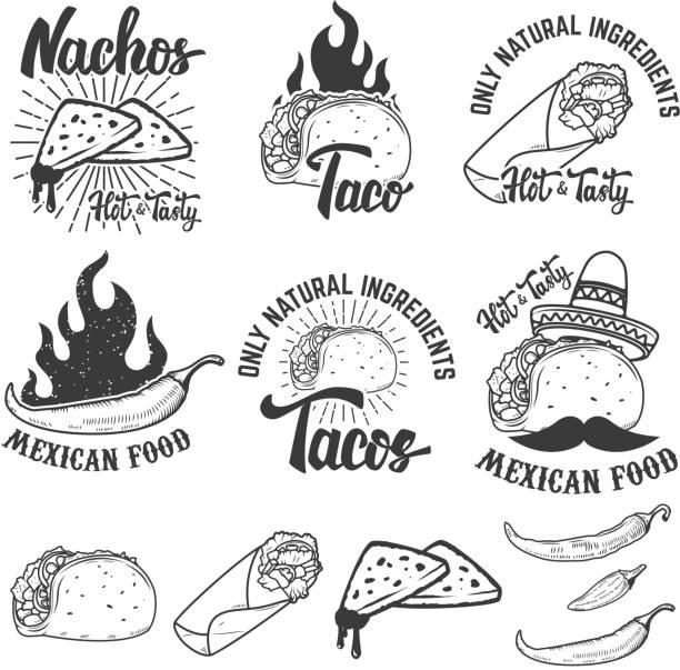 mexican food. nachos, burrito, taco illustrations. design elements for emblem, label, sign. vector illustration. - mexican food stock illustrations, clip art, cartoons, & icons