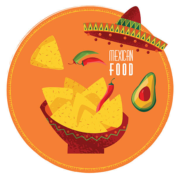 Mexican food. Nachos, jalapeno pepper and avocado. Mexican food. Nachos, jalapeno pepper and avocado. Vector illustration avocado silhouettes stock illustrations