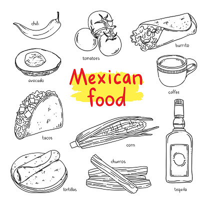Mexican food. National dishes of Mexico: coffee, vegetables, tequila, churros
