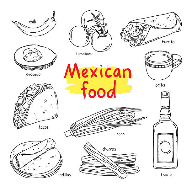 mexikanische küche. nationale gerichte aus mexiko :  kaffee, gemüse, tequila, churros - tortillas stock-grafiken, -clipart, -cartoons und -symbole