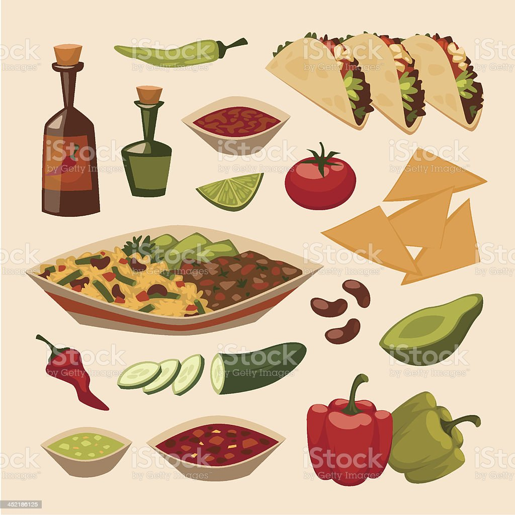 Mexican food. Objects set vector art illustration