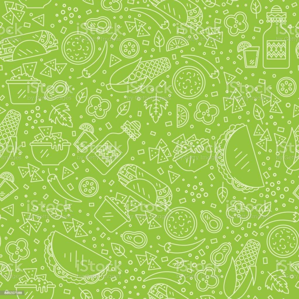 Mexican food pattern vector art illustration