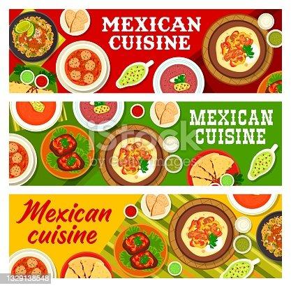 istock Mexican food restaurant menu meals vector banners 1329138548