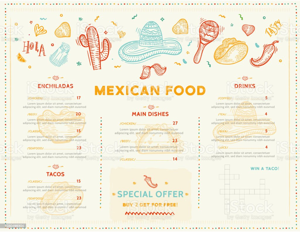 Mexican Food Restaurant Menu Template Design With Sketch Icons Of