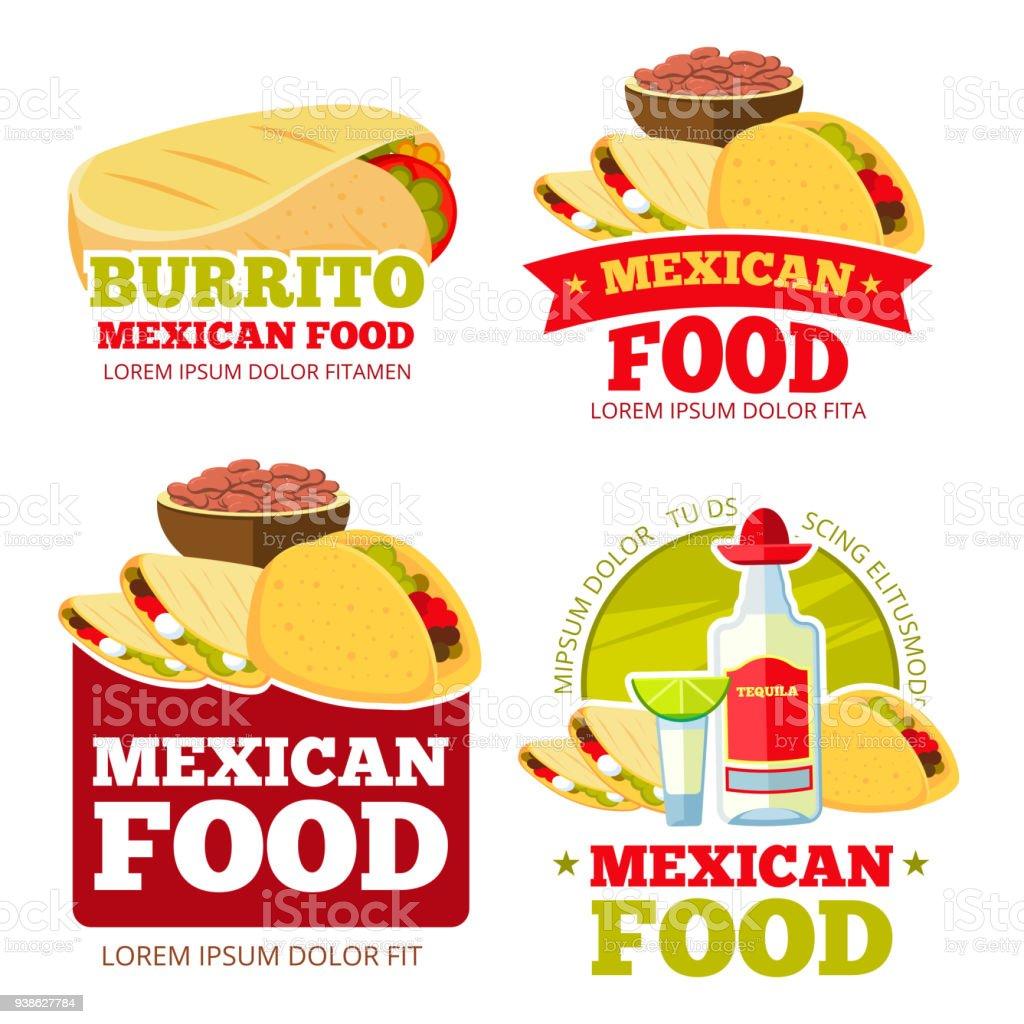 Mexican Food Restaurant Vector Badges Labels Symbols And Emblems